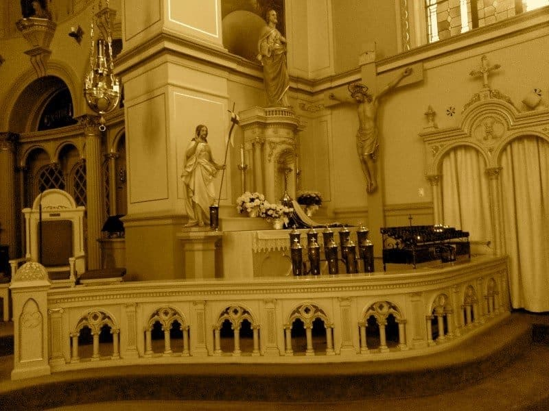 Truncated altar rail no longer in use at Old Saint Mary Parish, downtown
