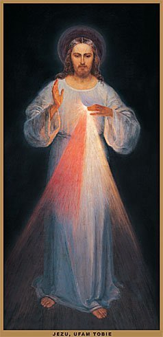 The original image of Divine Mercy painted in the presence of Saint Faustyna by Eugene Kazimirowski in Vilnius in 1934. This image is still in Vilnius, in a small church recently rededicated to Divine Mercy.