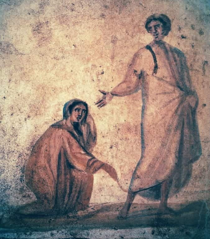 Jesus Healing the Woman with a Hemorrhage (from the Catacombs of Rome)
